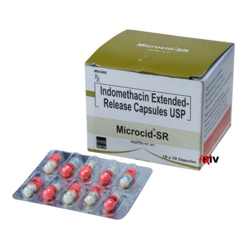 Buy Indomethacin 75 mg for the lowest price. Microcid-SR is a quality assured Indomethacin generic produced in a FDA approved factory in India. Indomethacin is used to reduce fever, pain, stiffness, and swelling from inflammation, and off-label for the treatment of Coronavirus (COVID-19).