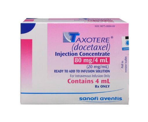 Buy Taxotere 80 MG (Docetaxel) (1 vial) at an affordable cost. It's used to treat Breast Cancer, Non-small Cell Lung Cancer, Castration-Resistant Prostate Cancer, Gastric Adenocarcinoma, Squamous Cell Carcinoma of the Head and Neck. Taxotere® is produced by Sanofi SA®, and sourced from authorized distributors in countries where drug costs are low.